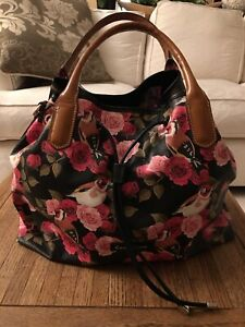 Cavalcanti Leather Red Floral Rose Birds Pattern Purse Handbag Made In Italy