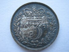 1874 Young Head silver Threepence A UNC toned