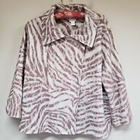 Chico's Women's Open Front Blazer Jacket Lace Look Knitted Size 2 Beige & Brown.