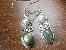 Cultured Pearl and Labradorite Teardrop 925 Sterling Silver Dangle Earrings g23a