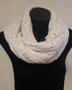 Knitted Snood Loop scarf, Red or Cream Multi pattern Wool Feel, Cosy winter warm