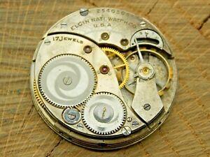 Antique Pocket Watch Movement Elgin Grade 345 12s 17j Openface Model 3 Vintage