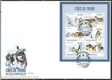 MOZAMBIQUE 2013 SLED DOGS  SHEET FIRST DAY COVER