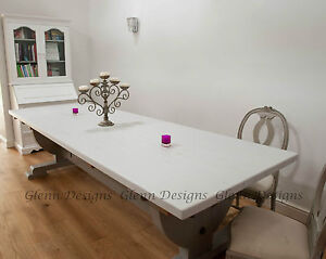 8,10,12 seater Large Shabby Country Painted Table, Curved Queen Post End.