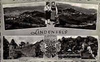 Lindenfels Hessen Odenwald ~1950/60 Mehrbildkarte Burg Festung Burghof Kurgarten