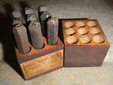 "Vtg Miller Falls Tools Steel Stamps 1/4"" Numbers Wood Box #1550"