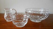 VINTAGE STUART CRYSTAL ENGLAND 3 PIECE STRAWBERRY SET - BOWL SUGAR CREAMER
