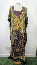New Floral Yellow Kaftan Tunic Holiday Beach Long Dress Cover Up One Size 12-24