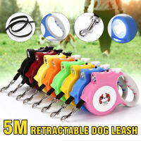5M Retractable Dog Leash Automatic Pet Walking Training Lead Rope With Lights