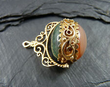 Vintage 9ct Gold Spinning Charm Green Agate & Carnelian - Fob Pendant