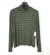 Charlotte Russe Women's Mock Turtleneck Sweater Plus Sz 1X Striped Lettuce Edge
