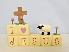 I love Jesus block with cross, lamb and flowers by Blossom Bucket #83492
