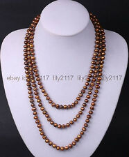 Long 100 inch AAA 8mm south sea chocolate shell pearl round beads necklaces