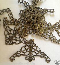 10 x Antique Bronze Corner Filigree Wrap Embellishments - approx 40 x 27 mm