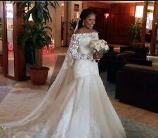 UK Off Shoulder White/ivory Long Sleeve Mermaid Lace Wedding Dress  Size 6-16