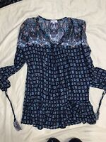 Umgee Boutique Women's Size M Blue Lace Cute Summer Tunic Top Blouse Boho