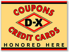 "(DX-STA-1) 24"" cream DX D-X CREDIT CARD STANDARD GASOLINE OIL VINYL DECAL"