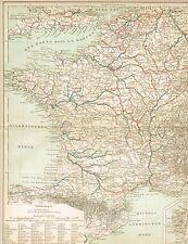 Karte FRANKREICH: SCHIFFAHRTSSTRASSEN / KANÄLE 1897 Original-Graphik