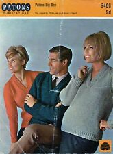 """~ Vintage 1960's Patons Knitting Pattern For Chunky V-Neck Sweater ~ 34"""" ~ 44"""" ~"""