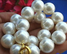 Huge 20mm White 100% Real South Sea Shell Pearl Necklace 18''AAA