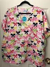 New! Sb Scrubs Women's Plus 3X White Pink Multi Faux Wrap Tie Back Scrub Top