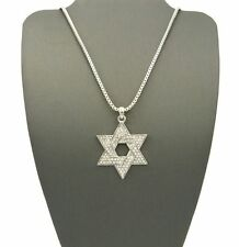 """ICED OUT SILVER SIX POINTS STAR OF DAVID PENDANT w/ 24"""" BOX CHAIN NECKLACE KS011"""