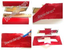 Red Carbon Fiber Vinyl Decals (2) U-Cut around Chevy Bowtie Emblems Grill/Rear