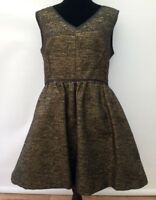 New BNWT RRP £75 Warehouse Black Gold Sparkle Fit & Flare Party Dress Fits 12/14