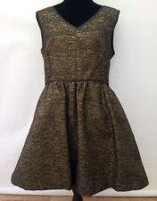 BNWT Was £75 Warehouse Black Gold Sparkle Party Fit 'n' Flare Dress Fits 12 / 14