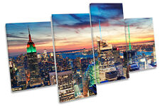 New York City Skyline Dawn Sunset MULTI CANVAS WALL ART Print Picture