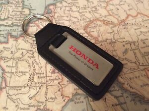 HONDA THE POWER OF DREAMS Quality Black Real Leather Keyring