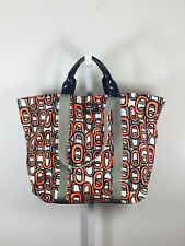 DIANE VON FURSTENBERG DVF Orange Multi Printed Canvas Large KAYA Tote