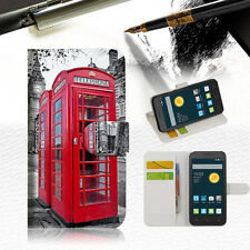 British phone Booth Wallet Case Cover For Telstra Optus Alcatel Pixi 3 4.5--A025