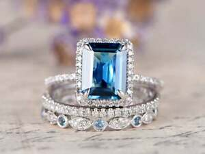 3.50Ct Emerald Cut London Blue Topaz Halo Trio Set Ring 14K White Gold Finish