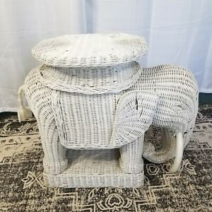 Vintage Wicker Elephant End Table Stand