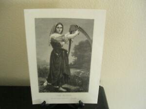 W. A. BOUGUERAU THE MOWER ORIGINAL 1880s  WOOD BLOCK PRINT