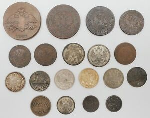 Lot of (19) Russian 1837-1915 1/2,1,2,3,5,10,15, 20 Kopek Silver/Copper Coins