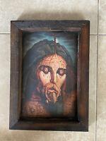 Octavio Ocampo Vintage Framed Art Print DESCENDIMIENTO Jesus Religious 19x13.5