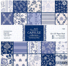 "Papermania 12x12"" scrapbook paper Parisienne blue 32 sheet in 16 designs 160gsm"