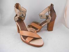 Tommy Bahamas Lavina Brown Leather Snake Print Heels Sandals Wmns Sz 9 M