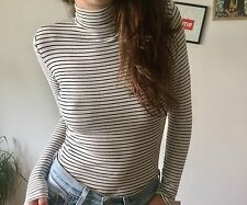 Ribbed Striped Turtle Neck High Neck Stretchy Top