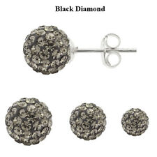 Sterling Silver Shamballa Ball Stud Earrings with Genuine PRECIOSA Crystals
