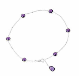 14K White Gold Anklet Bracelet With Amethysts And A Pear Shape Drop 10 Inches