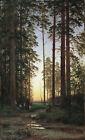 Dream-art Oil painting shishkin 希施金风景作品 日落下的松树Pine trees at sunset landscape art