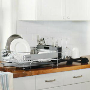 Sabatier Dish Rack, Expandable with Stemware Rack and Stainless Steel Panels