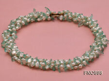 Fashion 5-6mm Natural White Freshwater Pearl With Crystal Chips Opera Necklace