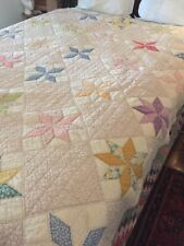 Vintage 1930s Eight Point Star Quilt, All Hand Sewn, 78 X 79 1920's ?