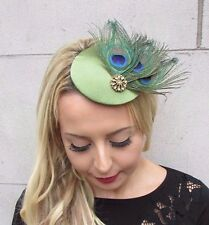 Olive Green Gold Peacock Feather Pillbox Hat Fascinator Hair Clip Races Vtg 3391