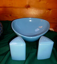 BUFFALO CHINA BLUE HAWAIIAN BY ONEIDA BOWL AND SALT & PEPPER