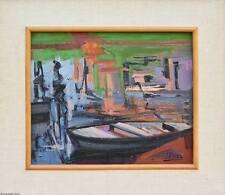 """Lucie RIVEL dipinto restaurando Oil painting """"reflets dans l'eau"""""""